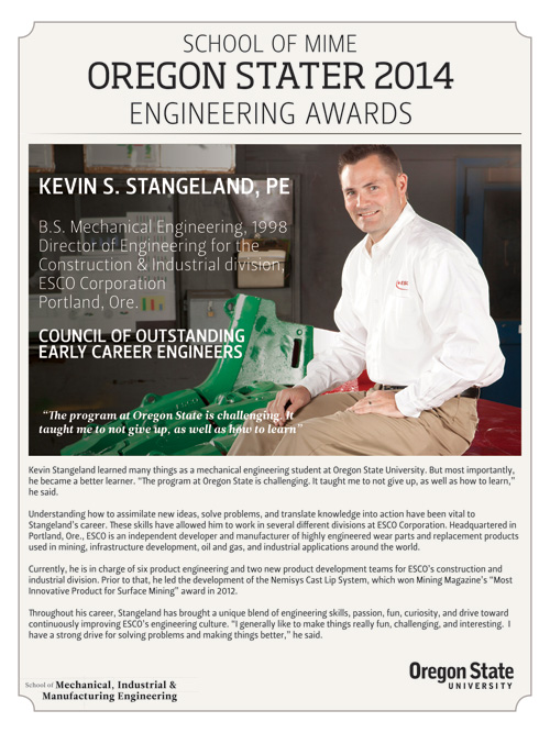 Oregon State University School of Mechanical, Industrial & Manufacturing Engineering Oregon Stater 2014