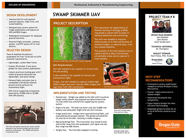 oregon state university school of mechanical industrial manufacturing engineering school of mime capstone design swamp skimmer