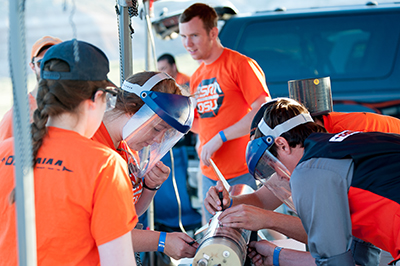 Students at Experimental Sounding Rocket competition